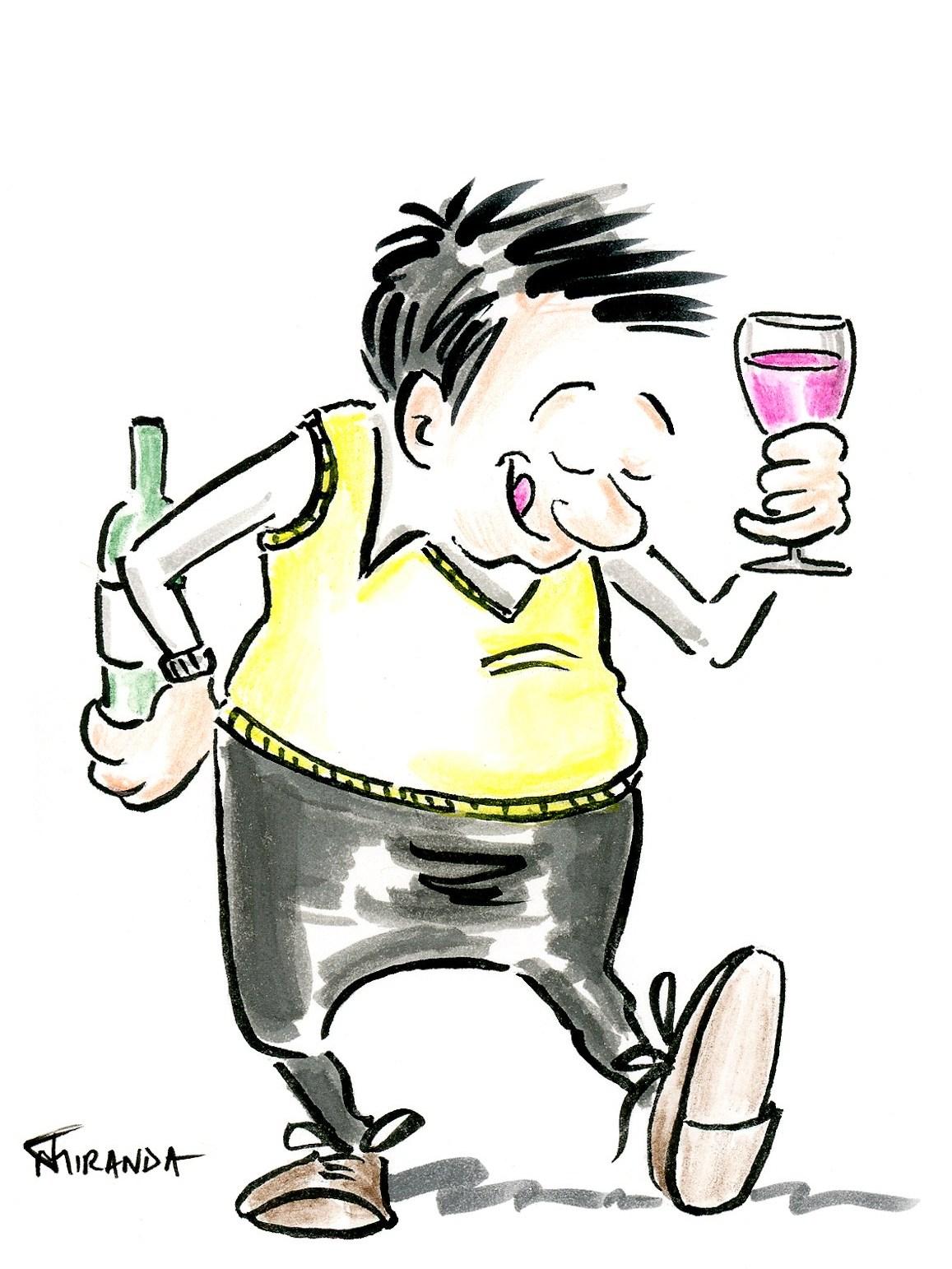 Character Illustrations - Wine Lover Cartoon by Joana Miranda