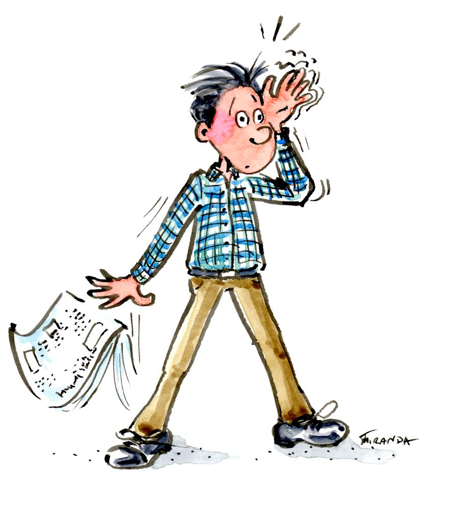 My Bad! Forgetful man ecard illustration by Joana Miranda.
