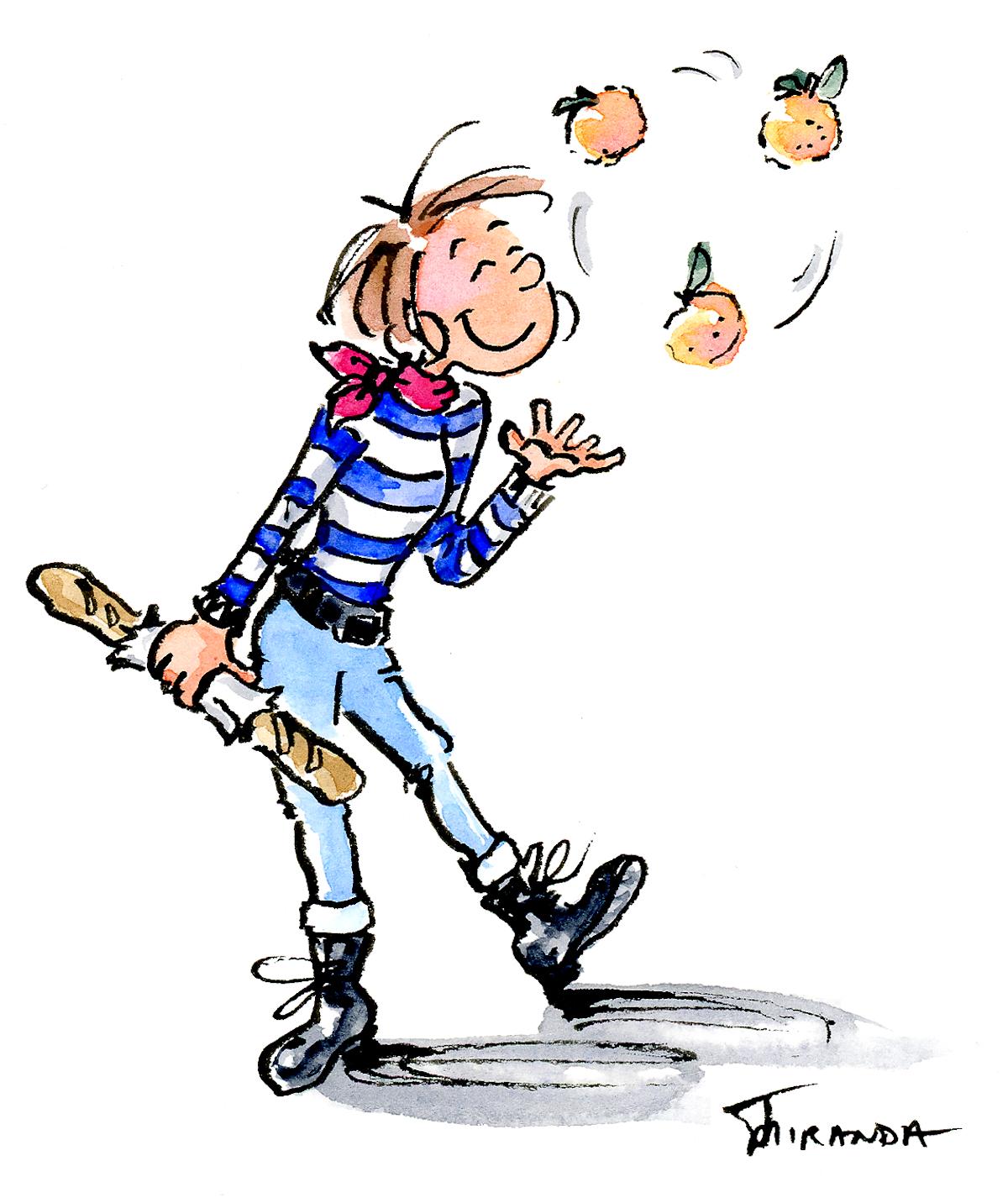 French girl cartoon illustration by Joana Miranda